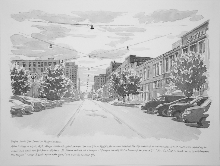 """Before South 8th Street on Pacific Avenue"""